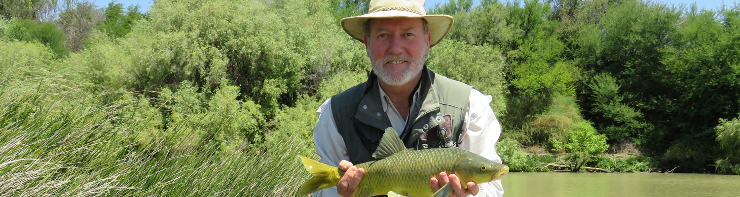 Indigenous yellowfish, caught by Alan Hobson in the Orange River. Wild Fly Fishing in the Karoo